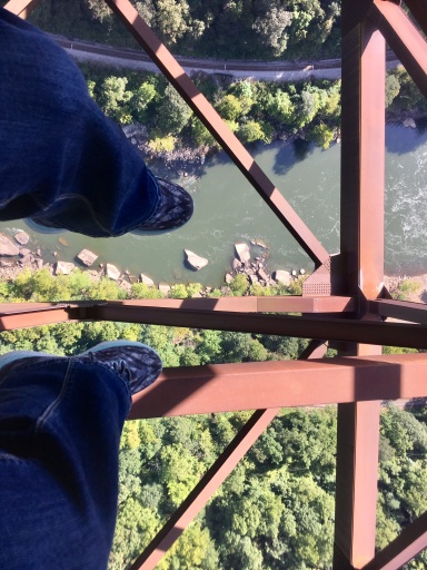 Bonnie's view when dangling legs over edge of the catwalk