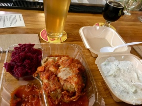 Stuffed cabbage and pickled beet salad for lunch